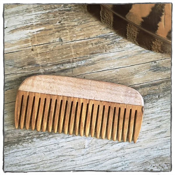Handcrafted Wooden Hair and Beard Comb: Figured Maple Handle & Canarywood Teeth