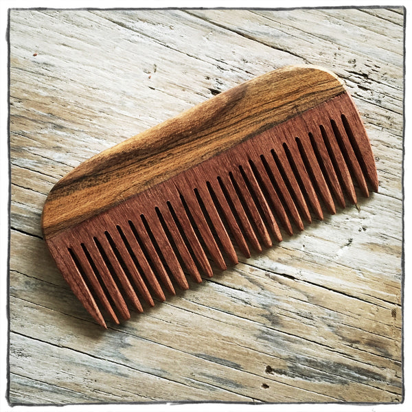 Handcrafted Wooden Hair and Beard Comb: Bocota Handle & Rosewood Teeth