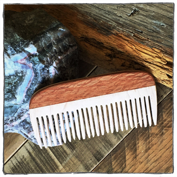 Handcrafted Wooden Hair and Beard Comb: Lacewood Handle & Maple Teeth