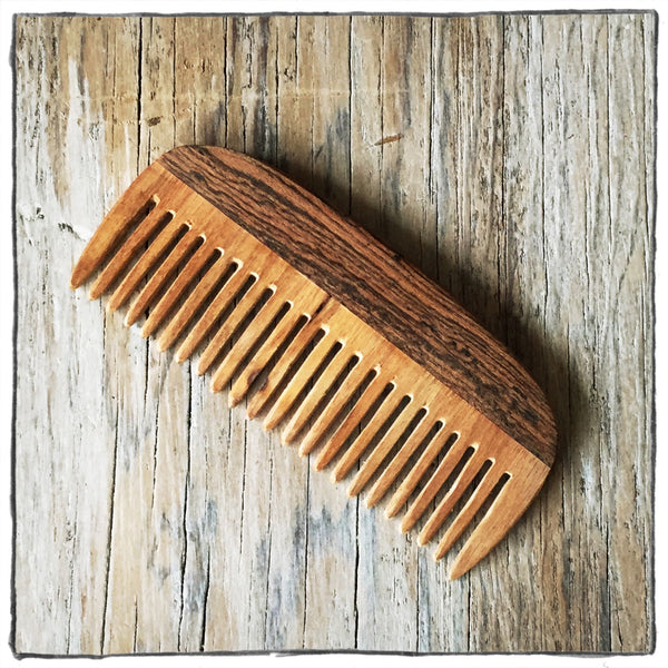 Handcrafted Wooden Hair and Beard Comb: Bocota Handle & Canarywood Teeth