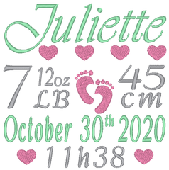 Girl birth stats embroidery template