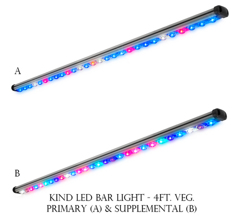 LED Head Grow Lights Official KindLED Image - Kind LED - Veg 4' Bar Light - 63/57 Watts (SKU: kindbl4v) - Bar - 1