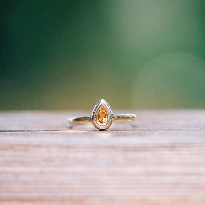 Pear-Shaped Citrine Bezel Ring