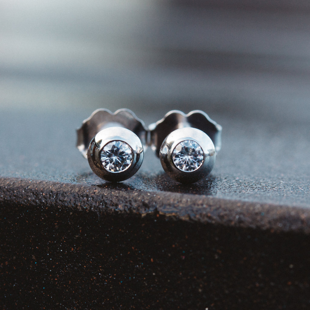 Moissanite Dome Stud Earrings