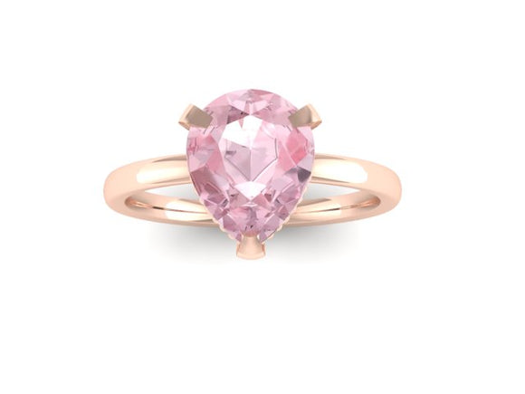 Rose Gold Pear Shaped Morganite Solitaire