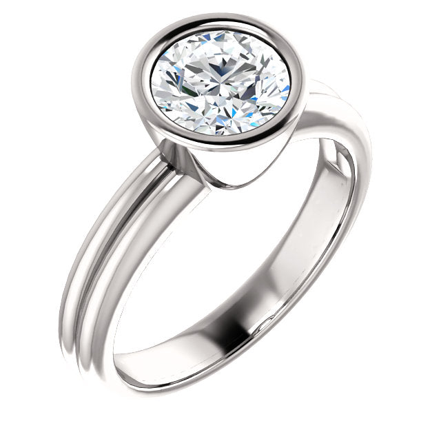 "Bezel Set ""Split Band"" Moissanite Ring"