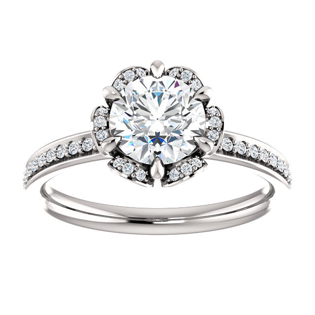 "6 prong ""Floral"" Halo Engagement Ring"