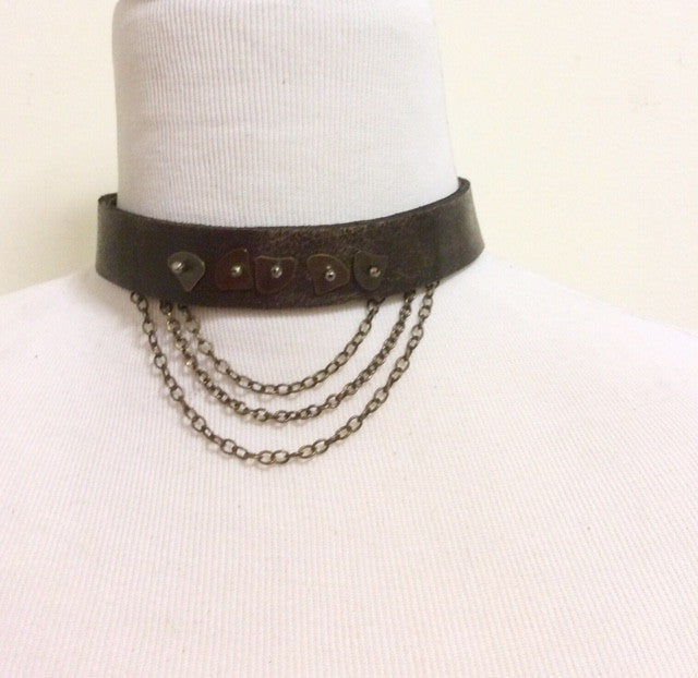 UPcycled Leather Choker 15""