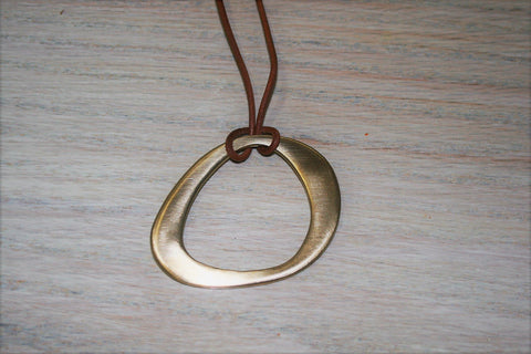 Contemporary Pendant on Leather Strap