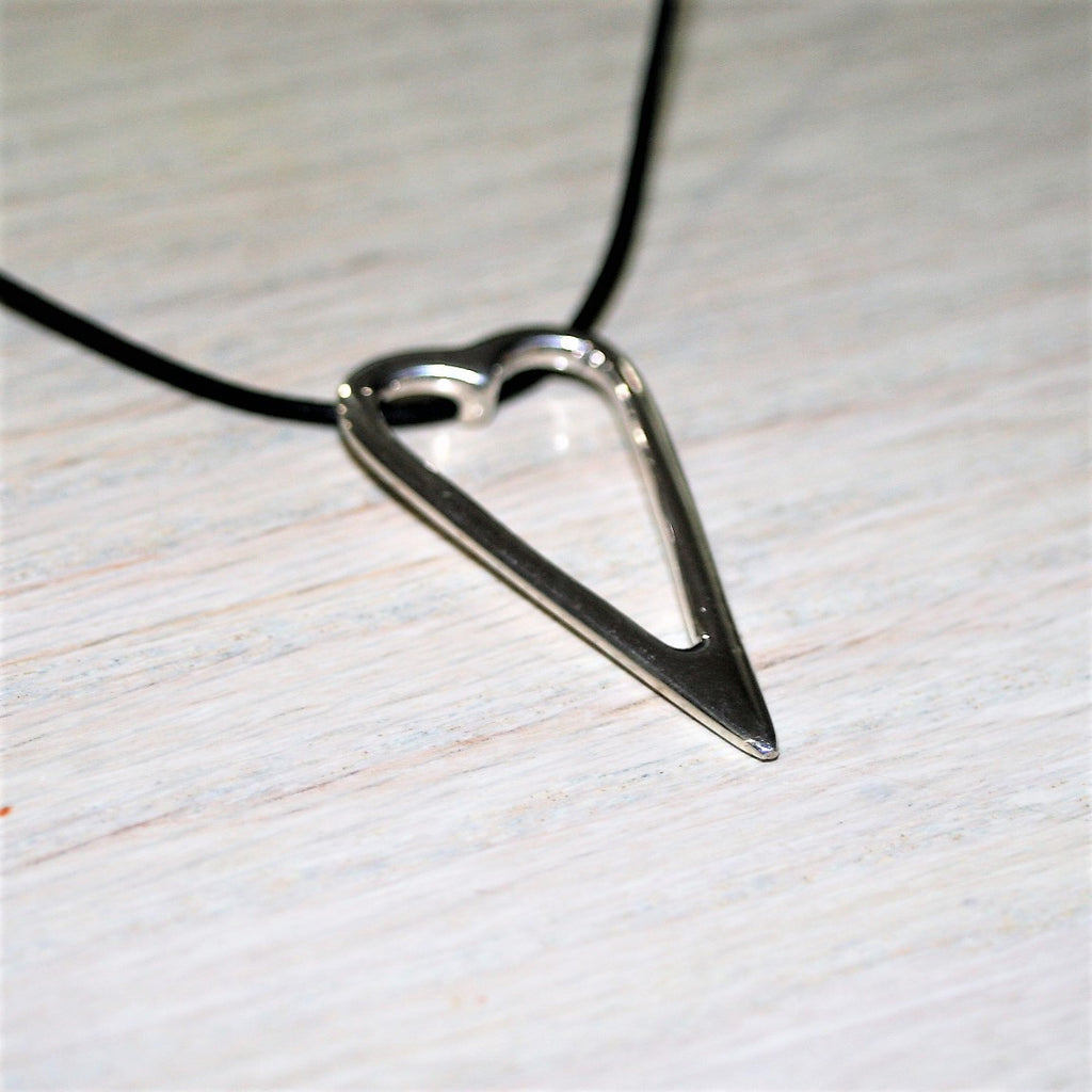 sterling silver heart shaped pendant made in USA