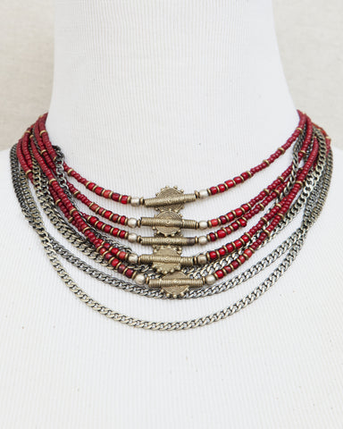 Multi chained & intricately beaded collar