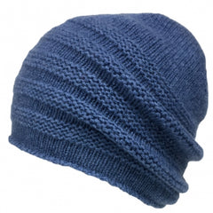 Katie Mawson Garter Stitched Knitted Beanie Lambswool