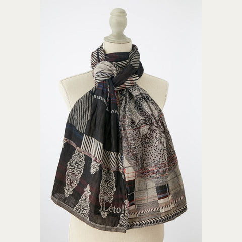 Chic Black and White Letol Scarf