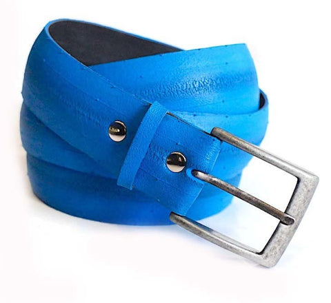 Electric Blue Reclaimed Tire Belt