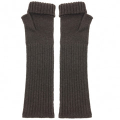 katie Mawson Fingerless Gloves Lambswool Soft Brown