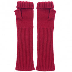katie Mawson Fingerless Gloves Lambswool Soft Red