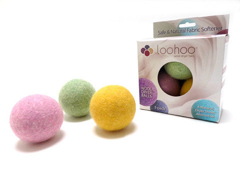 LooHoo Wool Dryer Balls Deluxe Starter 3-Pack