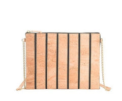 Cork Striped Clutch