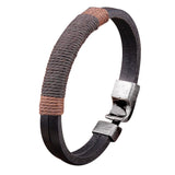 Stainless Steel Hemp Wrapped Leather Bracelet