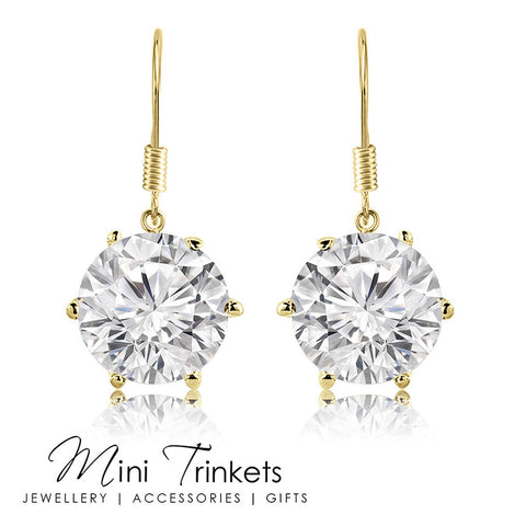 Gold Plated 8mm Cubic Zirconia Drop Earrings