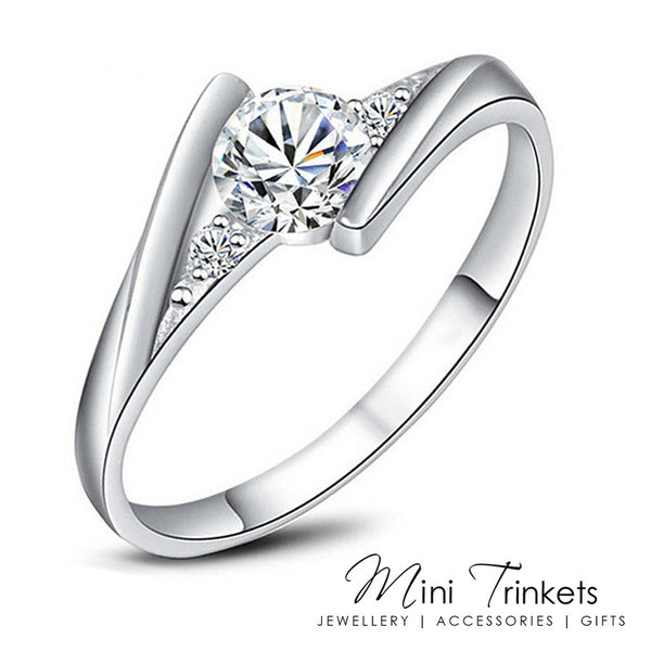 Silver Plated Solitaire Cubic Zirconia Bypass Ring