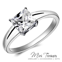 Silver Plated 6mm Cubic Zirconia Princess Ring