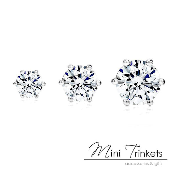 925 Sterling Silver Cubic Zirconia Stud Earrings - Mini Trinkets