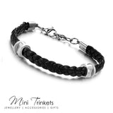 Stainless Steel Button & Leather Bracelet - Black
