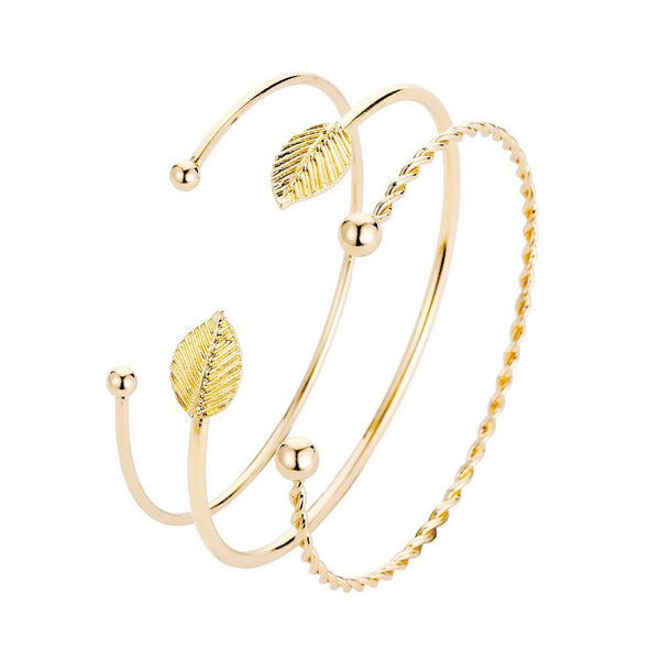 3 Piece Gold Cuff Bracelet Set