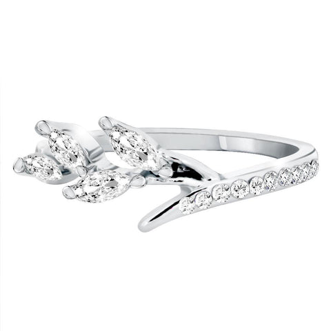 Marquise Cubic Zirconia Leaf Ring