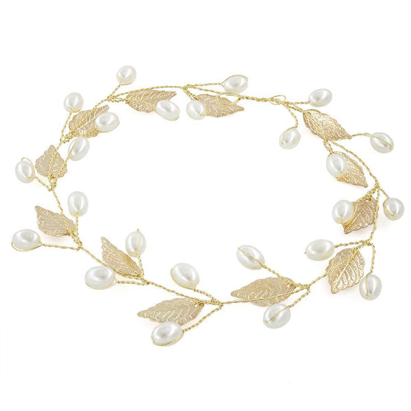 Gold / Silver Plated Leaf & Pearl Hair Vine