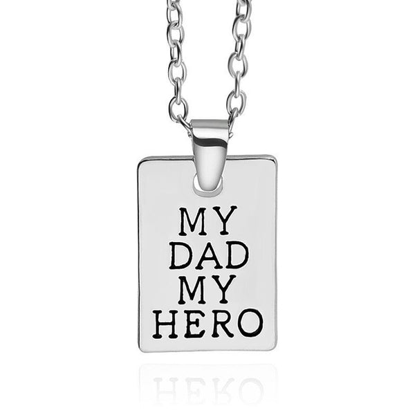 Silver Plated My Dad My Hero Necklace
