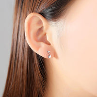 Asymmetric Silver Plated Musical Notes Stud Earrings