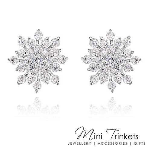 Large Silver Crystal Snowflake Stud Earrings