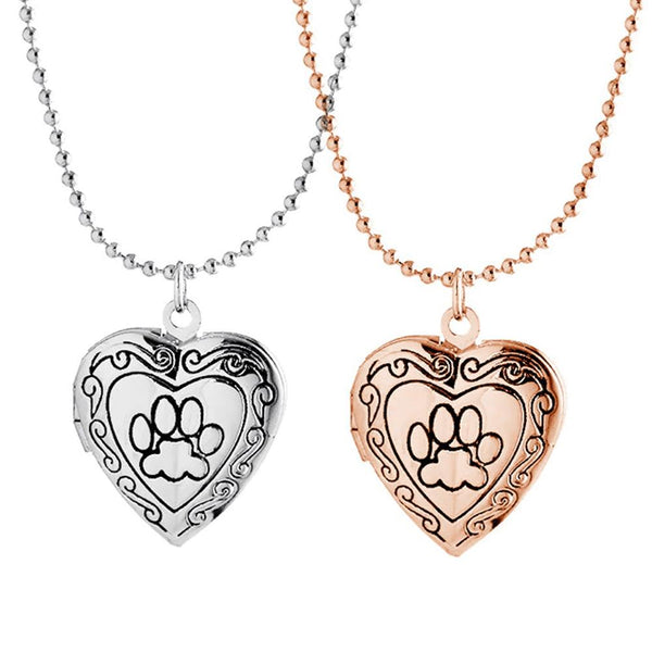 Pet Paw Print Heart Locket