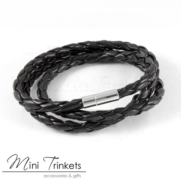 Triple Wrap Around Braided Bracelet - Black