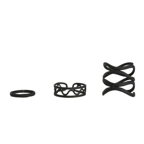 Set of 3 Black Stack Rings