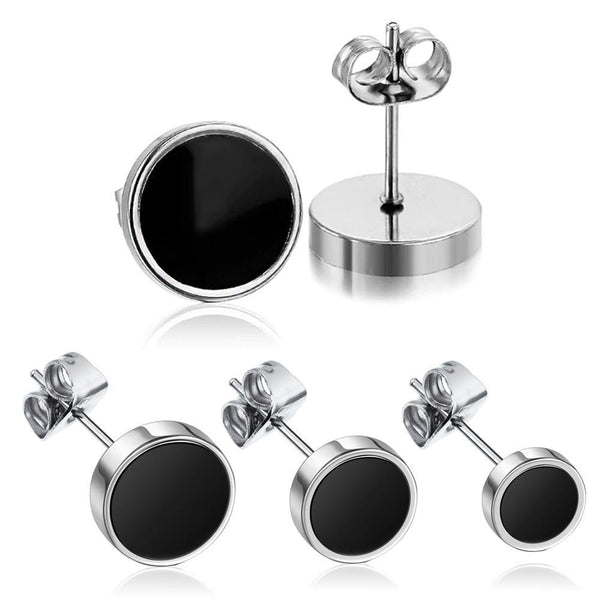 Round Stainless Steel Silver & Black Stud Earring