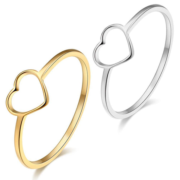 Anodised Stainless Steel Heart Outline Ring - Mini Trinkets