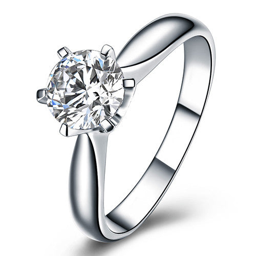 Platinum Plated 6mm Cubic Zirconia Solitaire Ring
