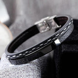 Double Layer PU Leather Stainless Steel ID Bracelet