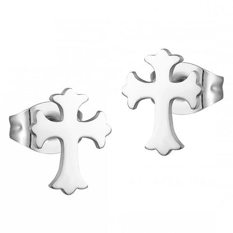 Small Stainless Steel Cross Stud Earrings