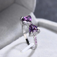 Silver Plated Purple Cubic Zirconia Bow Ring