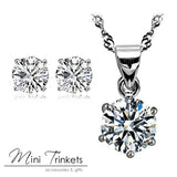 925 Silver Plated Cubic Zirconia Necklace And Stud Earrings Set - Mini Trinkets