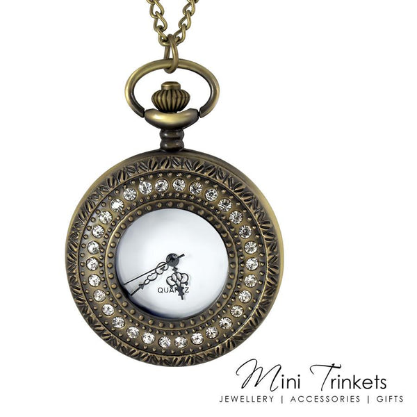 Antique Gold Cubic Zirconia Pocket Watch Necklace - Mini Trinkets