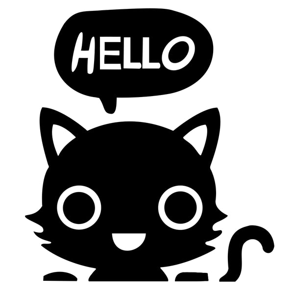 Hello Cat Light Switch Decal Sticker