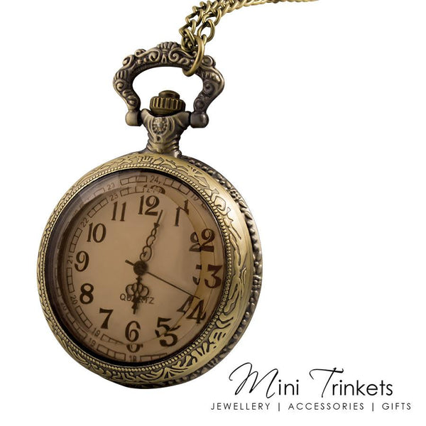 Antique Gold Amber Glass Pocket Watch Necklace
