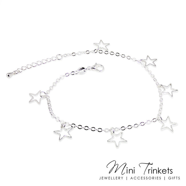 Silver Toned Star Charm Anklet
