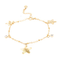 Gold Plated Cubic Zirconia Bell Anklet - Flower