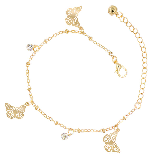 Gold Plated Cubic Zirconia Bell Anklet - Butterfly